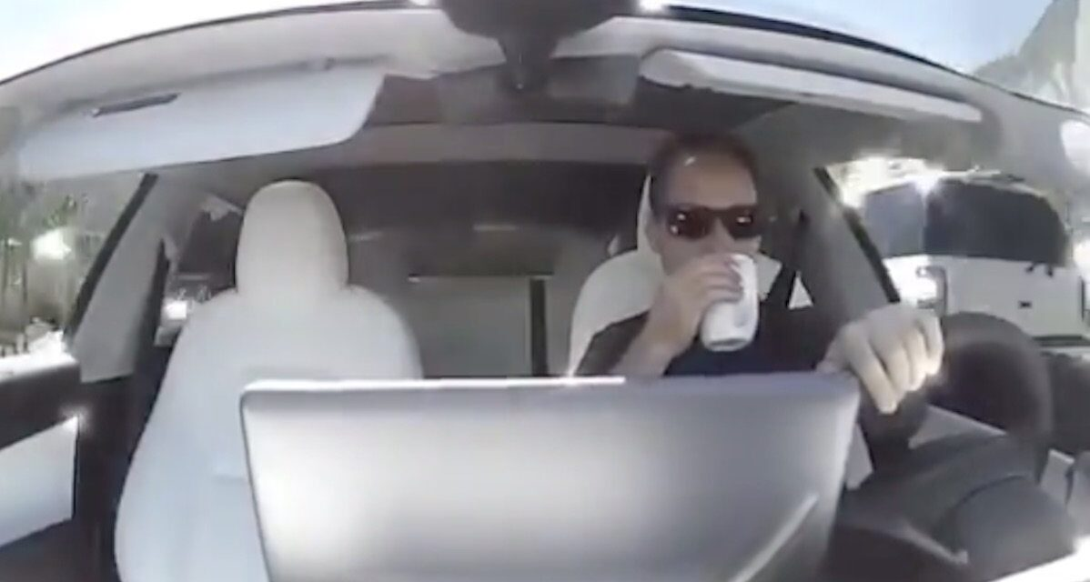 Driver drinks coffee in a Model 3 – and then the Tesla hits the brakes