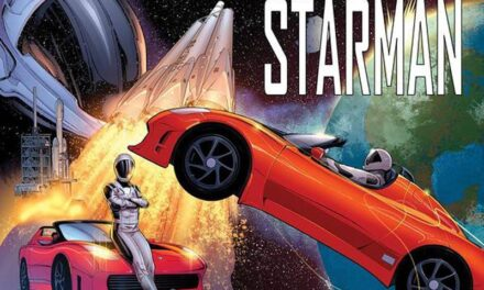 The achievement of Elon Musk and Starman become a comic book in Marvel and DC Comics style